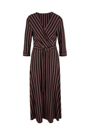 gestreepte maxi jurk donkerbruin