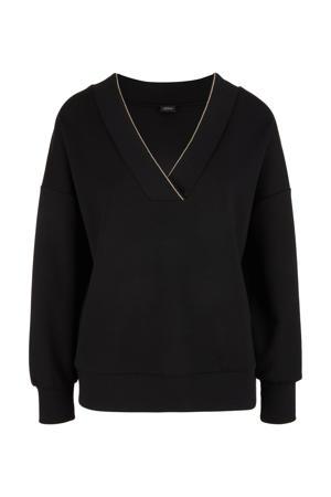 fijngebreide trui met glitters zwart/zilver