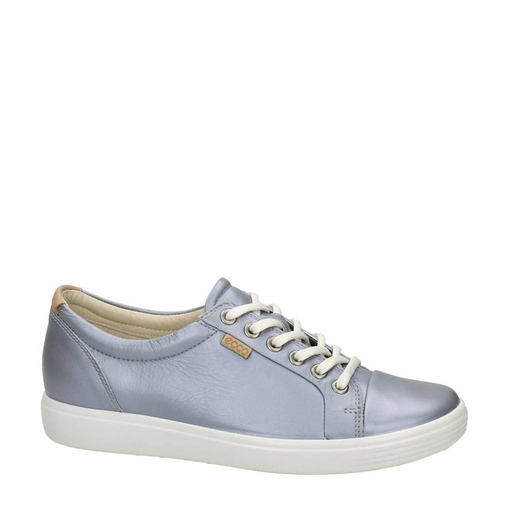 Ecco Soft 7 comfort leren veterschoenen metallic grijs, Metallic Grijs