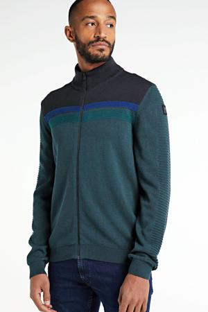gebreid vest groen/blauw/zwart
