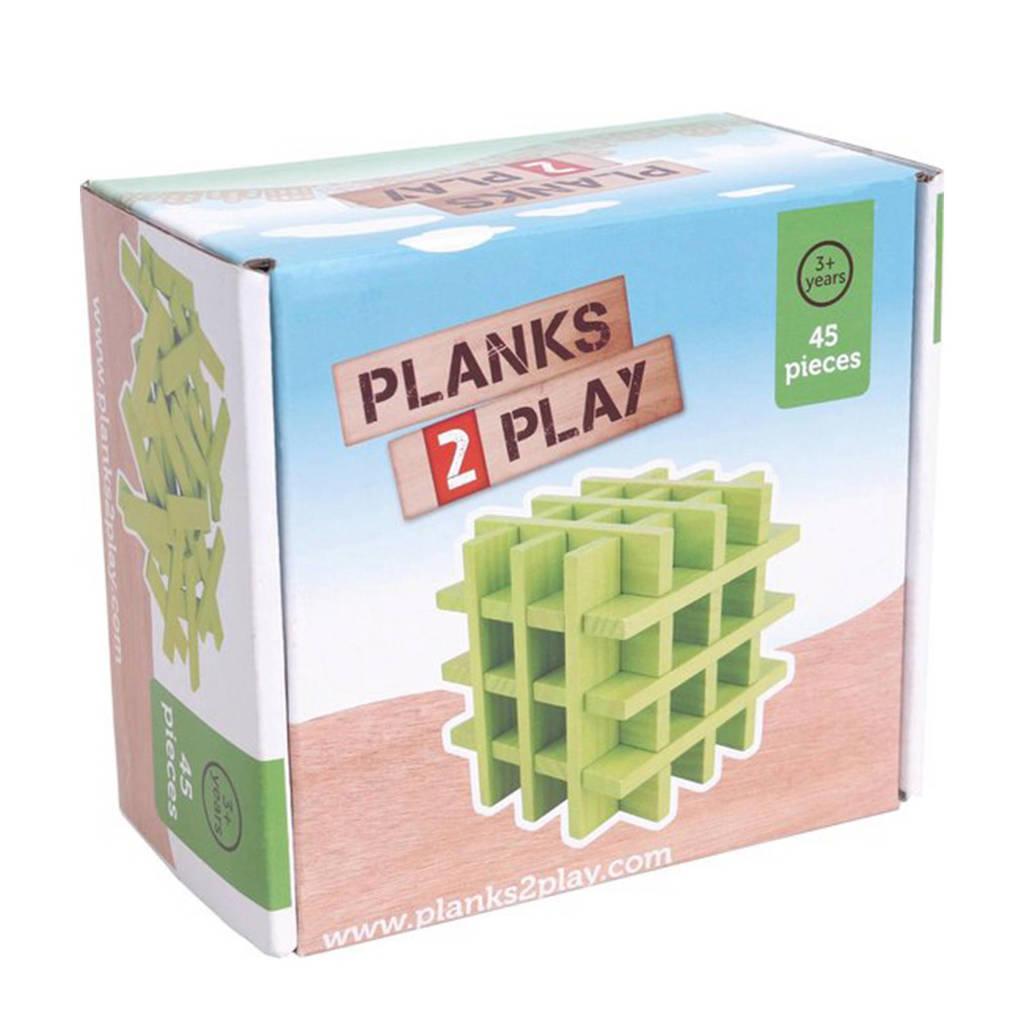 Planks 2 Play houten plankjes groen 45 stuks
