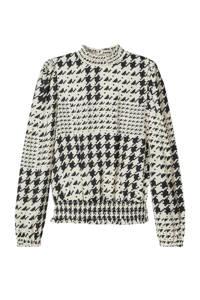 LMTD blouse Tound met pied-de-poule zwart/wit, Zwart/wit