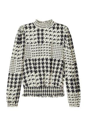 blouse Tound met pied-de-poule zwart/wit