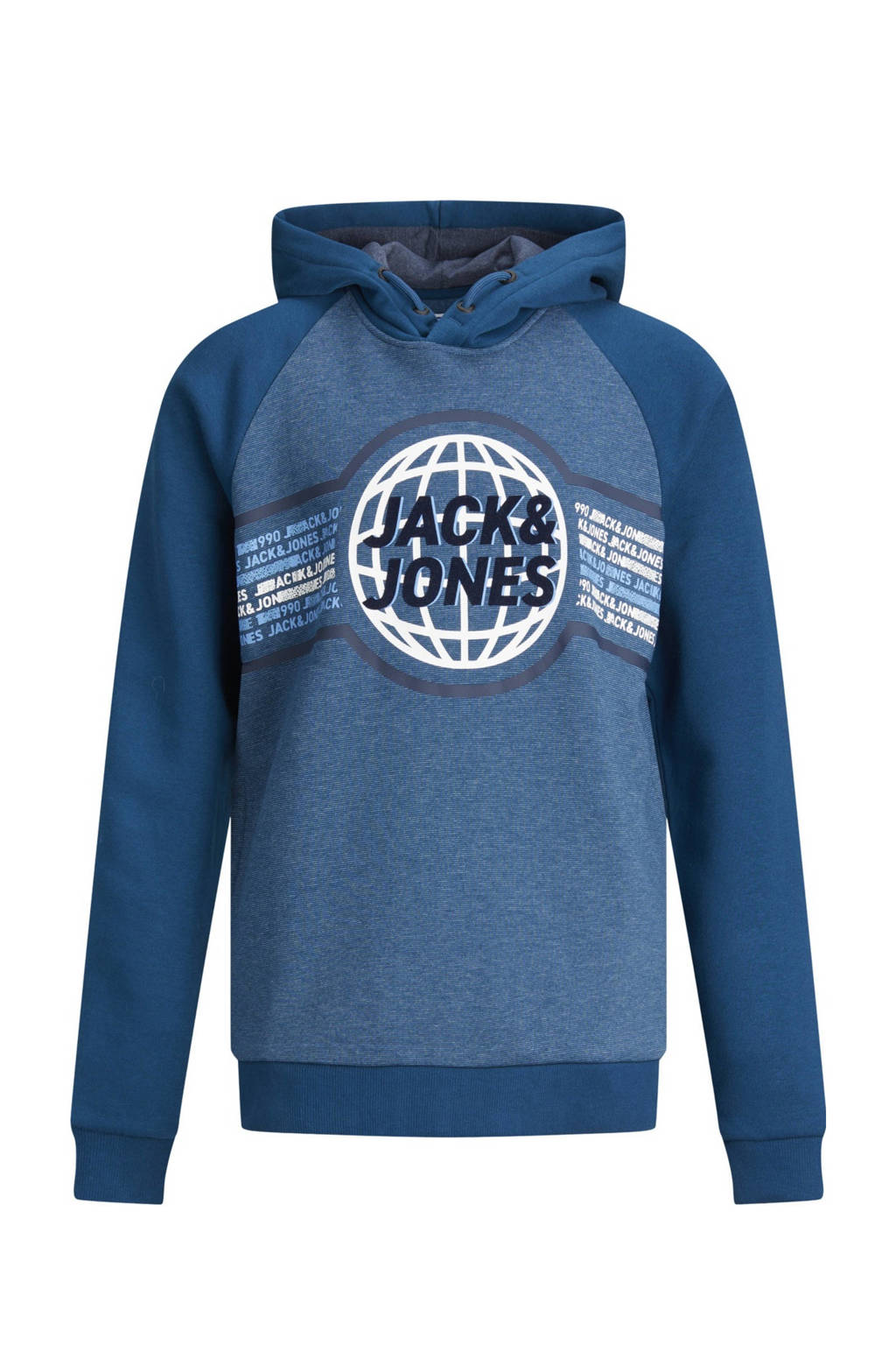 JACK & JONES JUNIOR hoodie Ruben met logo blauw/wit, Blauw/wit
