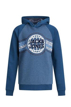 hoodie Ruben met logo blauw/wit