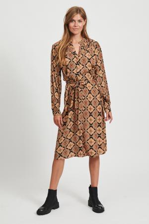 blousejurk Lisa met all over print en ceintuur bruin/zwart