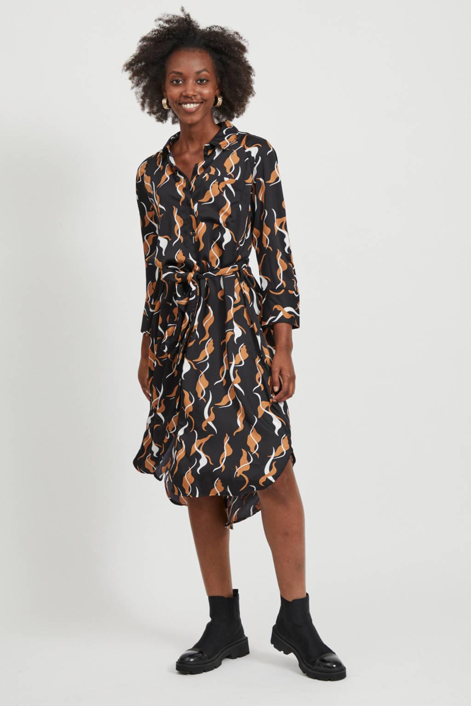 OBJECT blousejurk met all over print zwart/oranje, Zwart/oranje