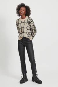 OBJECT gebreide trui Melanie met all over print ecru/zwart, Ecru/zwart