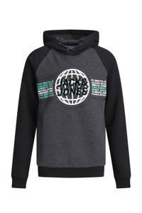 JACK & JONES JUNIOR hoodie Ruben met logo zwart/groen/wit, Zwart/groen/wit