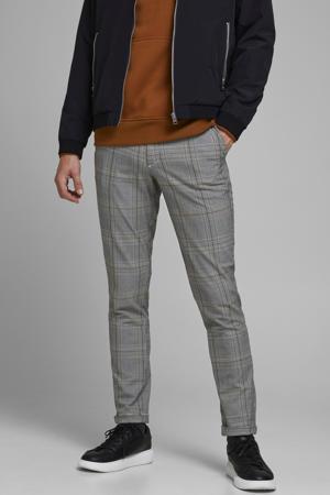 geruite slim fit pantalon Marco zwart/wit