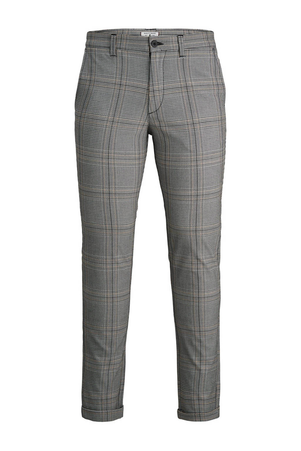 JACK & JONES JEANS INTELLIGENCE geruite slim fit pantalon zwart/wit, Zwart/wit