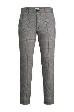 geruite slim fit pantalon zwart/wit