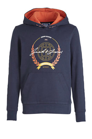 hoodie Dorm met logo donkerblauw
