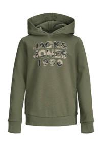 JACK & JONES JUNIOR hoodie Amoman met logo olijfgroen, Olijfgroen