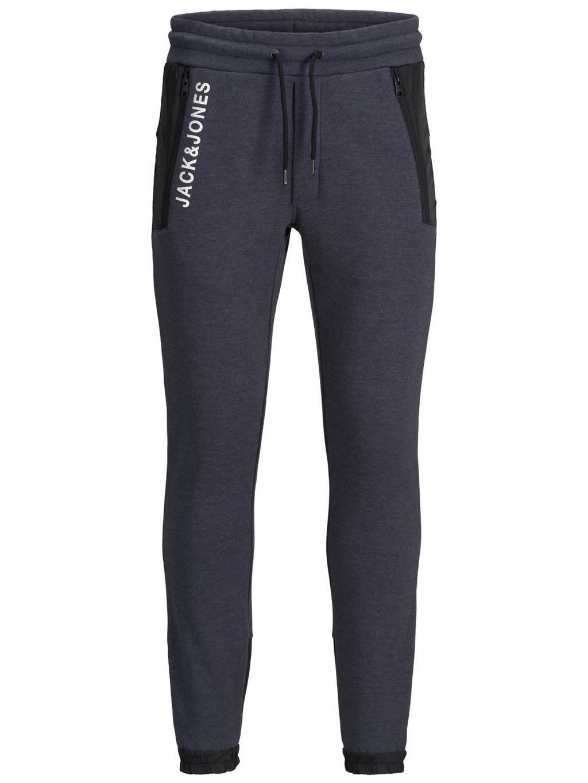JACK & JONES JUNIOR joggingbroek Will met logo donkerblauw/zwart/wit, Donkerblauw/zwart/wit