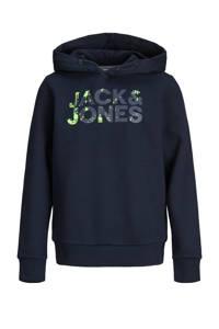 JACK & JONES JUNIOR hoodie Plash met logo donkerblauw/groen, Donkerblauw/groen
