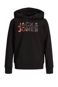 JACK & JONES JUNIOR hoodie Plash met logo zwart/oranje, Zwart/oranje