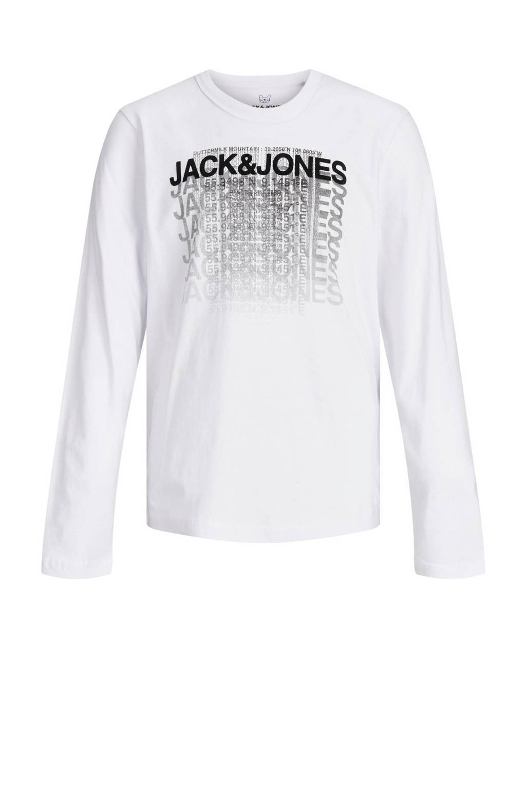 JACK & JONES JUNIOR longsleeve Club met tekst wit/zwart, Wit/zwart