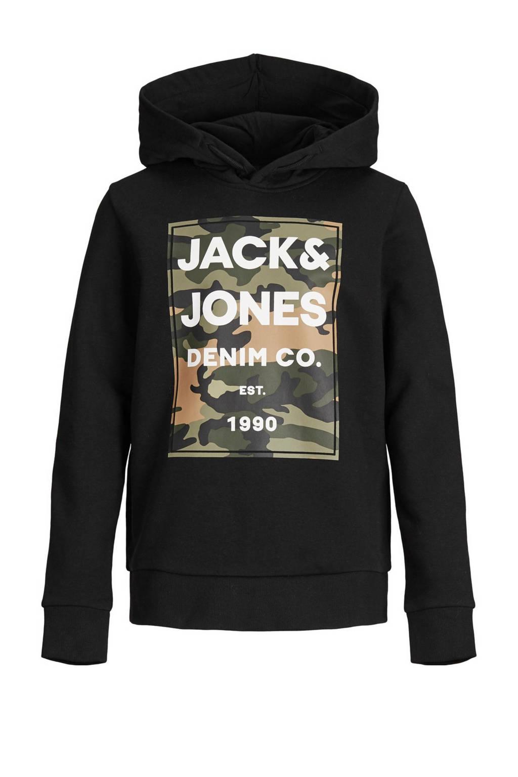 JACK & JONES JUNIOR hoodie Amoman met printopdruk zwart, Zwart