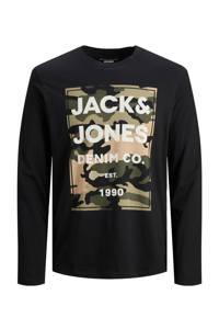 JACK & JONES JUNIOR longsleeve Amoman van biologisch katoen zwart, Zwart