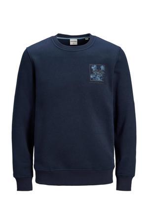 sweater Ottos met printopdruk donkerblauw