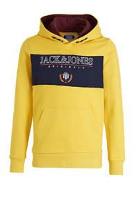 JACK & JONES JUNIOR hoodie Dorm met logo geel/donkerblauw, Geel/donkerblauw