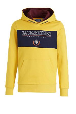hoodie Dorm met logo geel/donkerblauw