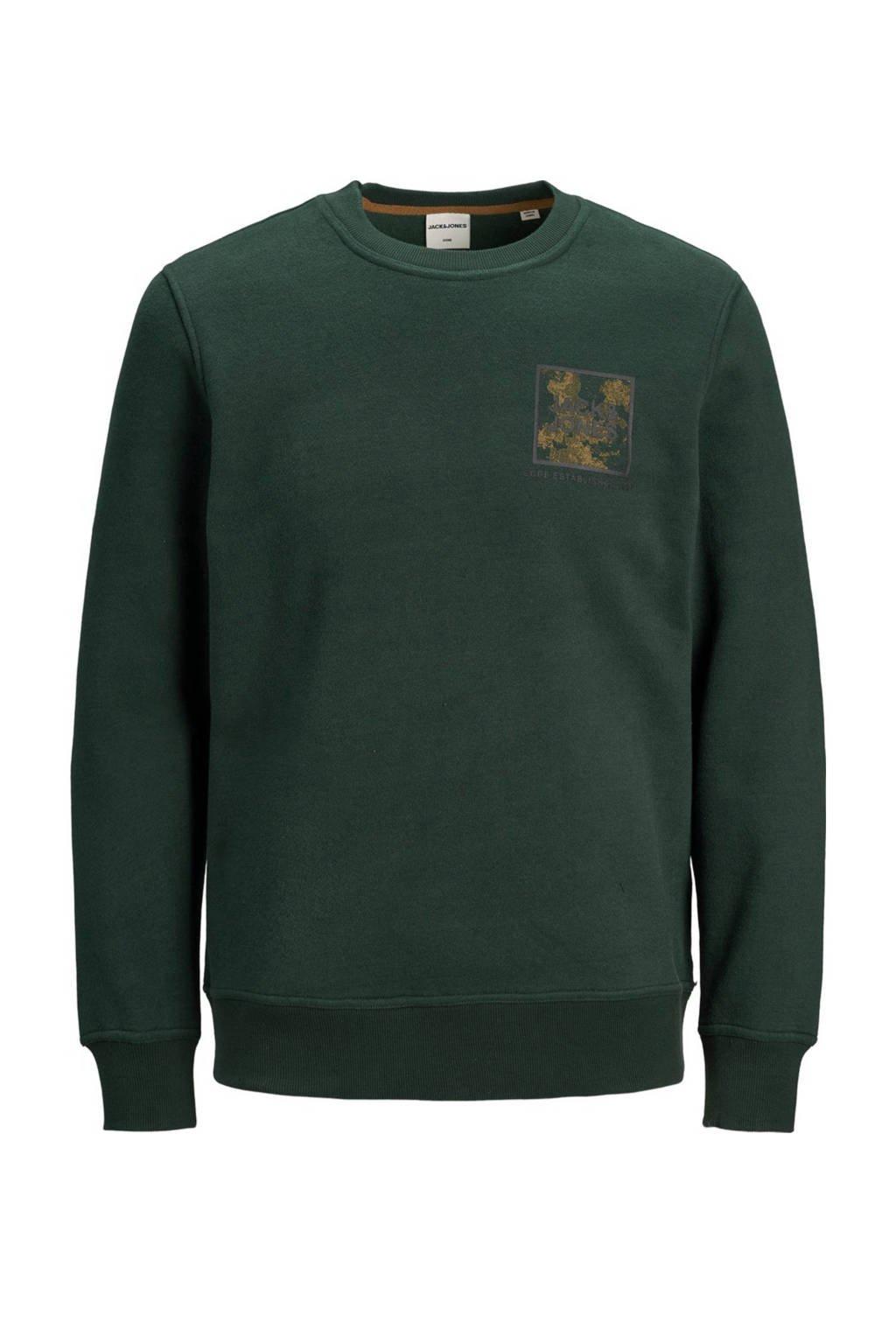 JACK & JONES JUNIOR sweater Ottos met printopdruk donkergroen, Donkergroen