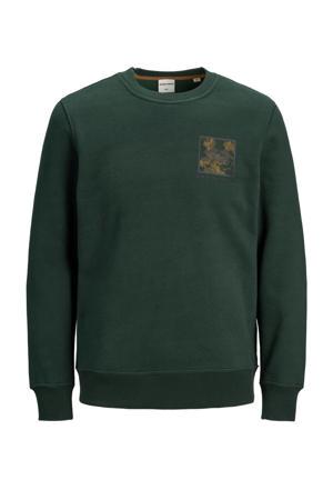 sweater Ottos met printopdruk donkergroen