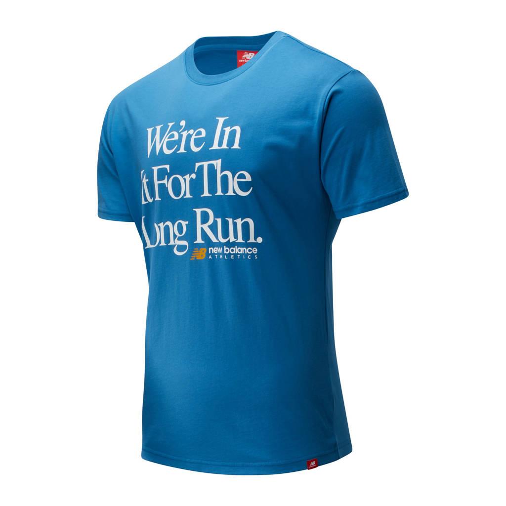 New Balance T-shirt blauw, Blauw