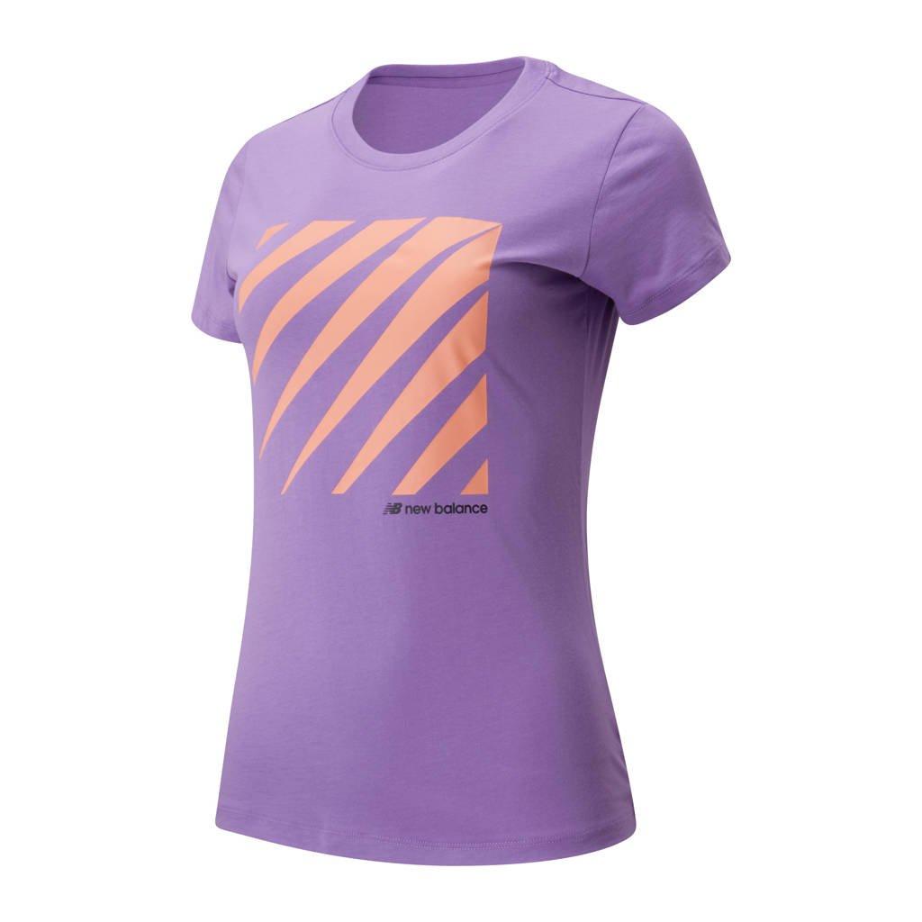 New Balance T-shirt paars/oranje, Paars/oranje