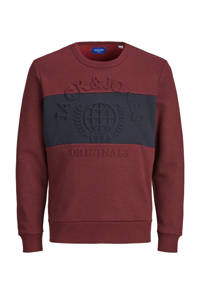 JACK & JONES JUNIOR sweater Poet met tekst roodbruin/donkerblauw