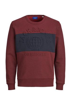 sweater Poet met tekst roodbruin/donkerblauw