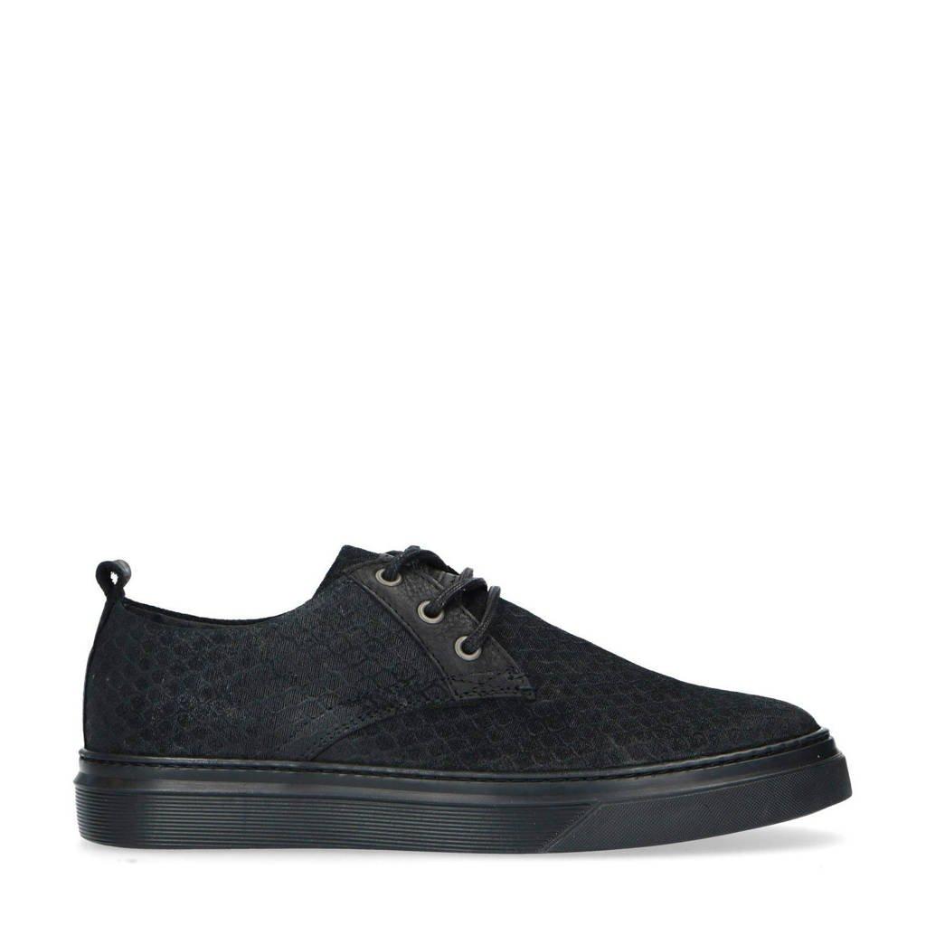 Manfield   suède sneakers zwart, Zwart/Zwart