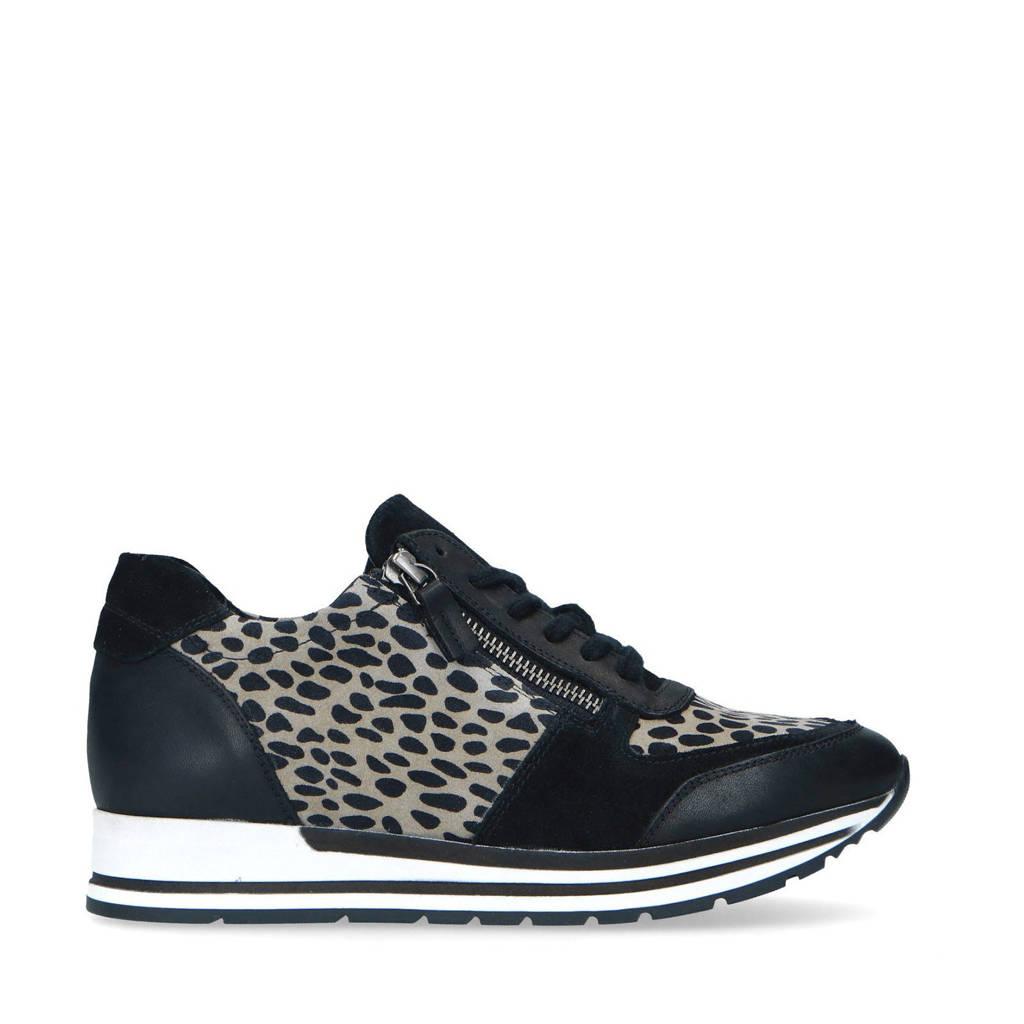 Manfield   leren sneakers met panterprint zwart, Zwart