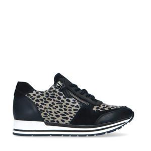 leren sneakers met panterprint zwart