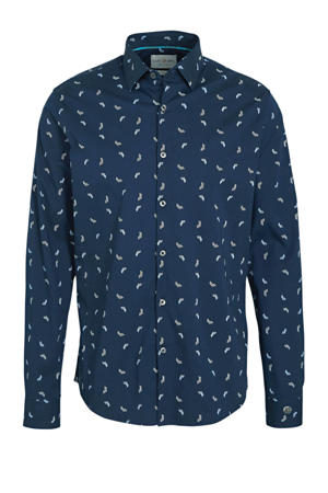 regular fit overhemd met all over print marine