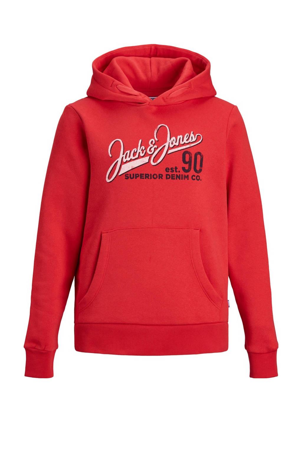 JACK & JONES JUNIOR hoodie JJELOGO met logo rood/wit, Rood/wit