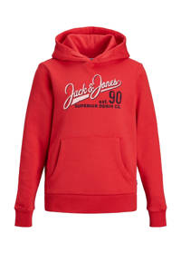 JACK & JONES JUNIOR hoodie met logo rood/wit, Rood/wit