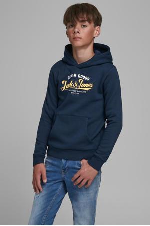 hoodie met logo donkerblauw/geel/wit