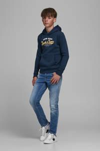 JACK & JONES JUNIOR hoodie JJELOGO met logo donkerblauw/geel/wit, Donkerblauw/geel/wit