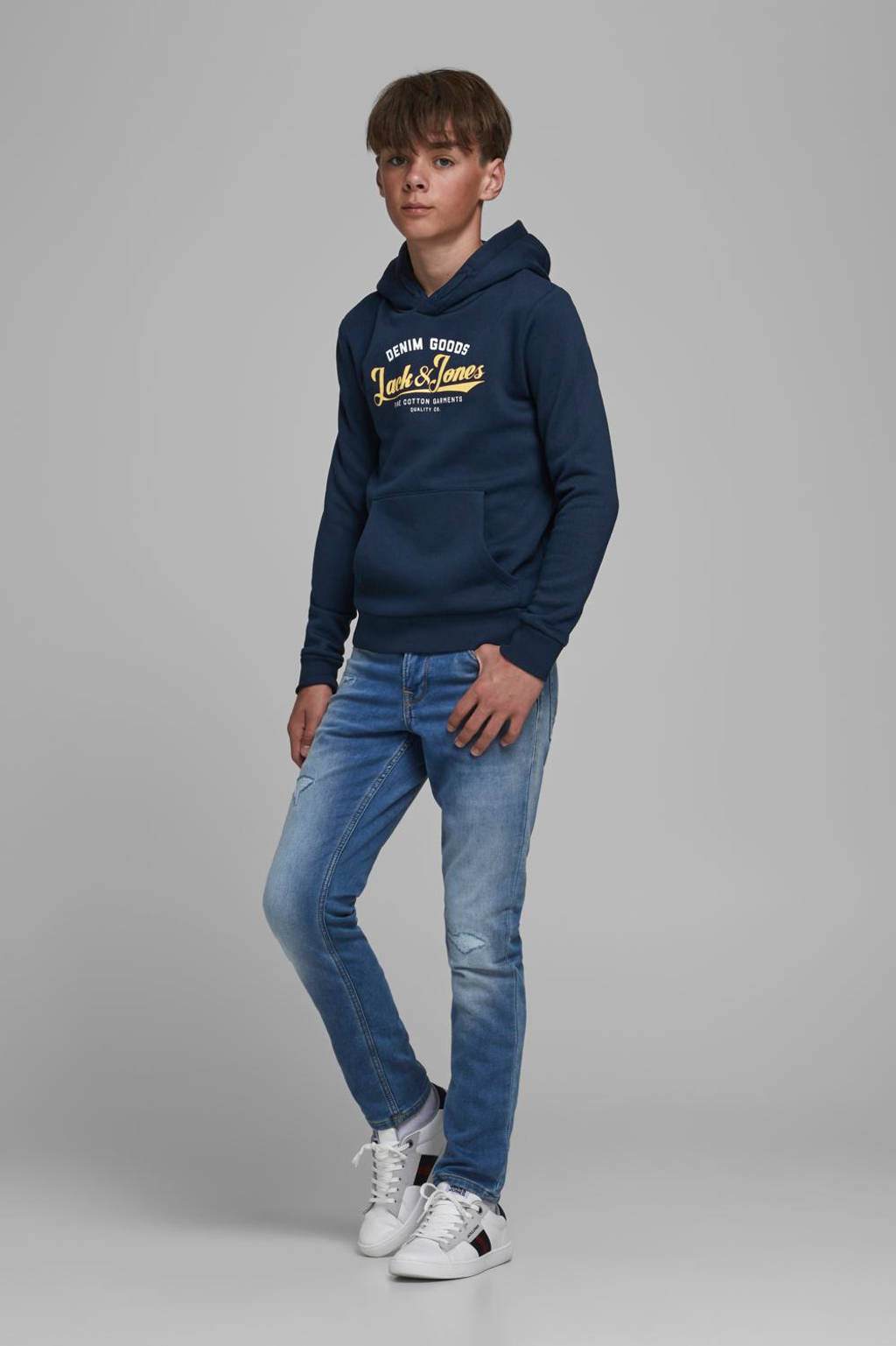JACK & JONES JUNIOR hoodie met logo donkerblauw/geel/wit, Donkerblauw/geel/wit