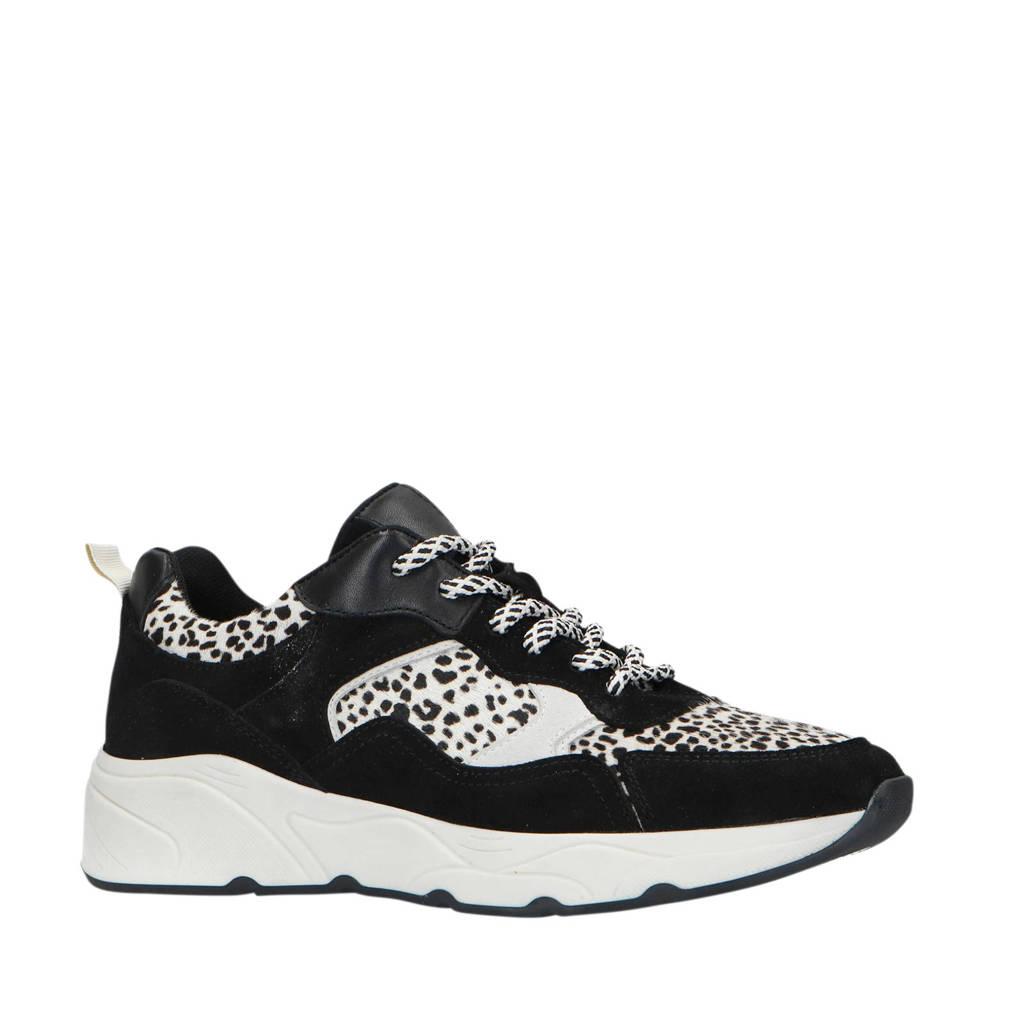 Sacha   leren dad sneakers zwart/cheetahprint, Zwart/wit
