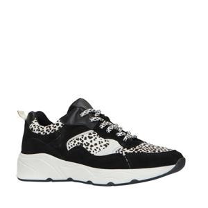 leren dad sneakers zwart/cheetahprint