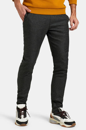 slim fit broek Prosper met pied-de-poule zwart