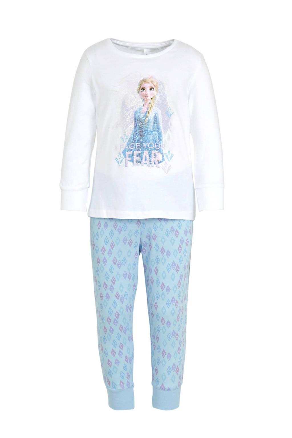C&A pyjama Frozen wit/blauw, Wit/blauw