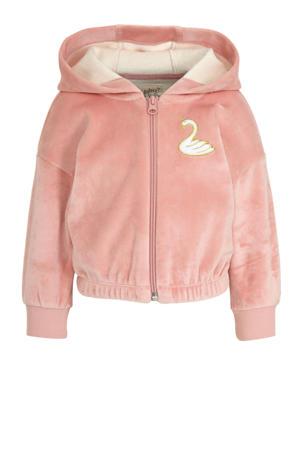 fleece vest met 3D applicatie roze