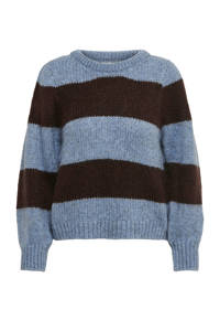 ONLY gestreepte gebreide trui Benin blauw/donkerbruin, Blauw/donkerbruin