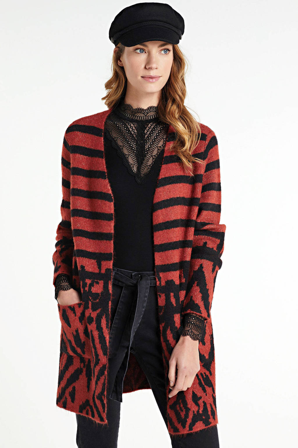 ONLY gebreid vest Flynn met all over print rood/zwart, Rood/zwart