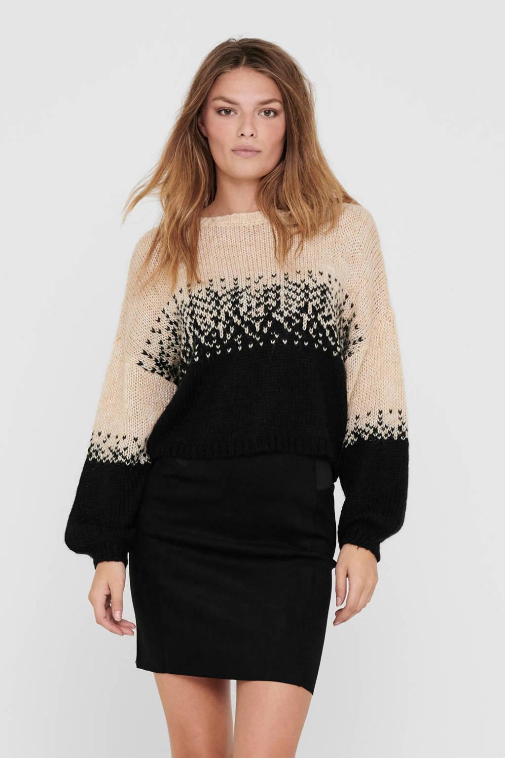 ONLY gebreide trui Kuna beige/zwart, Beige/zwart